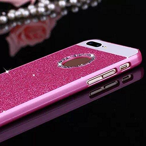 Cuitan PC Glitzer Schutzhülle für Apple iPhone 7 plus (5,5 Zoll), mit Diamant Strass Kristall Bling Glänzende Puder Glitter Shinning Rück Abdeckung Case Cover Hülle Handytasche Rückseite Tasche Handyh Rose Rot