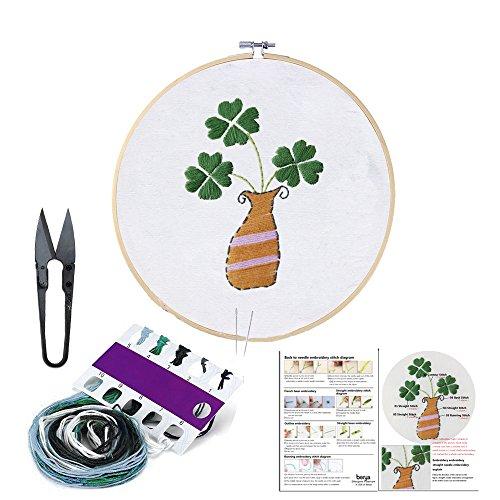 BERYA - Juego completo de bordado a mano para principiantes, que incluye tela de bordado, bastidor de bambú, hilos de colores y kit de herramientas para principiantes Four-leaved Clover