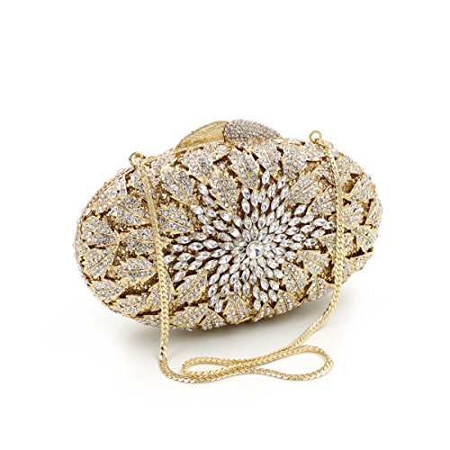 Damen-Abendessen Set Diamant Strass Diamanten Wallets Brauttaschen Gold