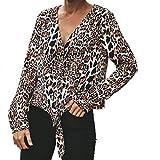 Damen Leopard Drucken Bluse Lässig Langarm Shirt Tunika Top Mode Pullover Oberteile(Braun,EU-38/CN-L