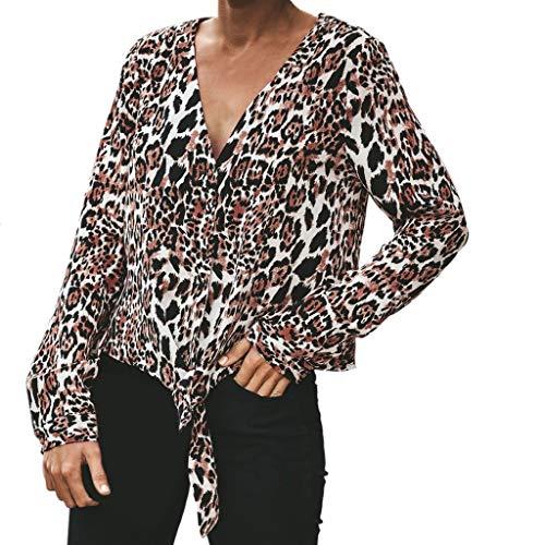 PorLous Bluse, 2019 Mode Frauen Weiblich Sexy Leopard-Spleiß Binden Knopfbluse Lange Hülsen-beiläufiges Tunika-Spitzenhemd Bequem Elegant.