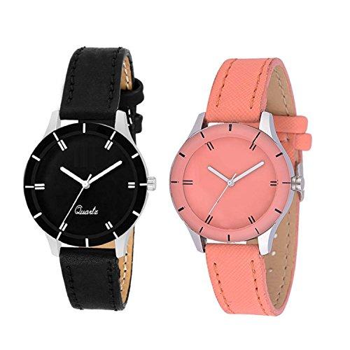 Krupa Enterprise Analogue Black Orange Color Watch for Men Set of 2 bd09aa7c3791a