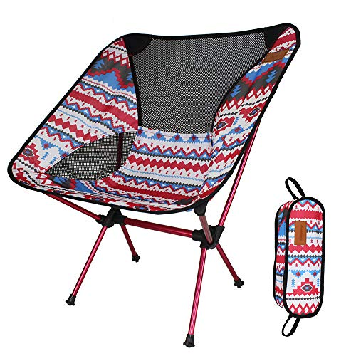 Sharon zhou Lightweight Folding Fishing Chair Camping Chair With Carry Bag For Hiking,Fishing,Beach,hiker Heavy Duty 200lb (Color : Red)