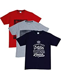 Fleximaa Men's Cotton Round Neck T-Shirt Printed (Pack Of 3) - Red, Navy Blue & Grey Milange Colors.