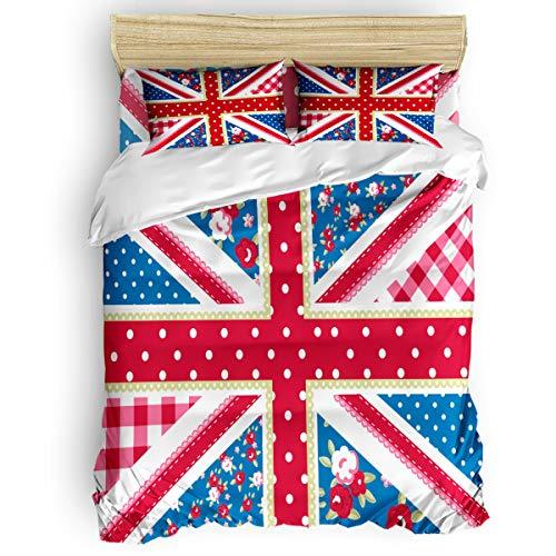 CHARMHOME Bettwäsche-Set, kreatives Union Jack-Design, weich, 4-teiliges Bettwäsche-Set mit Bettlaken-Set und 2 dekorativen Kissenbezügen - Keine Decke Twin Size Garden Flagche0170