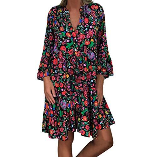 MCYs Damen Übergröße Loose Print Langarm V Kragen Knopf Minikleid - Print Bustier Dress