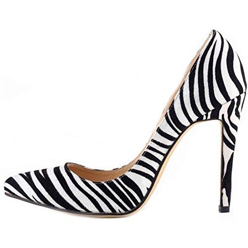 Oasap Femme Chaussure A Talons Hauts Pointu Talons Aiguilles Z'br' Blanc&Noir