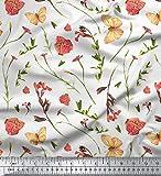 Soimoi Weiß Baumwolle Batist Stoff Schmetterling &