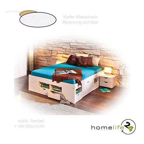 Massivholzbett 140x200 cm durchdachtes Funktionsbett mit einer Komforthöhe von 47,5cm weiß lackiert, praktischem Ordnungssystem 4 Schubladen, 8 Regalfächer und 2 Unterbettkommoden