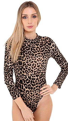 Fashion Essentials -Frauen Turtle Neck Polo Camo Schädel Leopard-Druck-Bodysuit LEOPARD BROWN