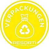Resorti Verpackungen Aufkleber farbig für Mülltrennung Mülleimer Abfalltrennsysteme