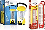 Wipro Coral Rechargeable Emergency Light (Yellow) & Amber Rechargeable Emergency LED Lantern (Red) C