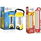 Wipro Coral Rechargeable Emergency Light (Yellow) & Amber Rechargeable Emergency LED Lantern (Red) Combo