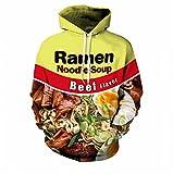 Cowesoo Unisex Ramen Noodle Soup Drucken lustige Schwein/Hühnchen/Rindfleisch Hip Hop Sweatshirt