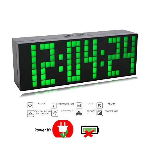 T Tocas 23,5 centimetri Digital Jumbo Grandi numeri ha condotto Snooze parete Desk Clocks Indoor ore / minuti / secondi con allarme, calendario, termometro