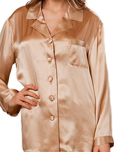 Ellesilk Luxe Femmes Long Silk Pajamas Champagne
