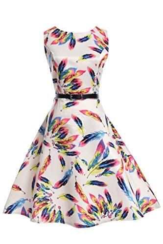 YMING Damen Vintage Kleid Retro Hepburn Stil Festliches Kleid Hochzeitgast Kleid Swing Kleid Sommerkleid,Weiß,Feder,L / DE 40-42 (Kleid Federn)