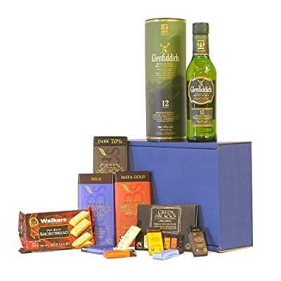 The Glenfiddich Whisky & Chocolate Survival Kit Gift Hamper - Includes 350ml 12 Years Old Glenfiddich Single Malt Scotch Whisky Gift ideas for - Valentines,Presents,Birthday,Men,Him,Dad,Her,Mum,Thank you,Wedding Anniversary,Engagement,18th,21st,30th,40th,