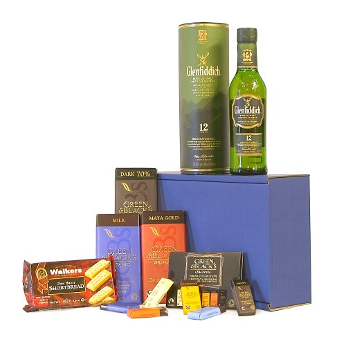 The Glenfiddich Whisky & Chocolate Survival Kit Gift Hamper - Includes 350ml 12 Years Old Glenfiddich Single Malt Scotch Whisky - Gift ideas for Father's Day and Birthday