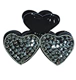 PANACHE Clips & Claws, Black Hearts with Crystal Studs, Women Hair Beauty Accessories, Hair Care & Styling, Hair Styling Tools, Hair Clips, Style 49.