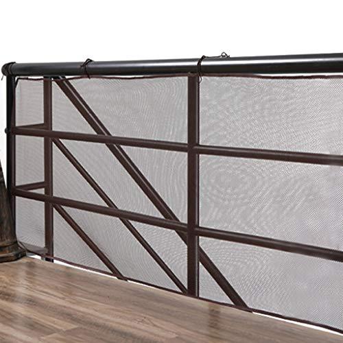HUANPIN Filet de Protection escalier Filet de Protection Enfant Balcon, terrasse et Patio d'escaliers, Filet de sécurité pour Enfants/Animaux domestiques/Jouets, 9.8ft L x 2.5ft H,Brown
