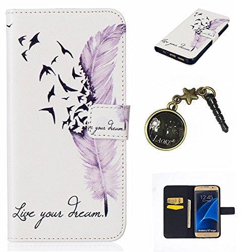Preisvergleich Produktbild PU Silikon Schutzhülle Handyhülle Painted pc case cover hülle Handy-Fall-Haut Shell Abdeckungen für Smartphone (Samsung Galaxy S7 Edge) +Staubstecker (Q10)