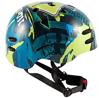 Sport Direct Boy's No Bounds BMX Helmet, Blue/Green, Size 55-58 from Sport Direct