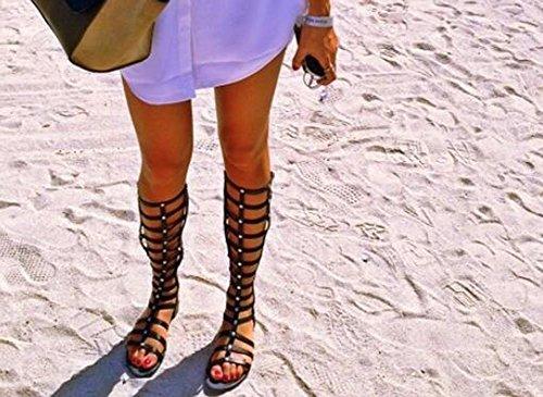 Wealsex Sandales Montante Hauteur Genou Plate Spartiate Bout Ouvert Multi-bride Noir Marrons Fermeture Eclair Femme Noir