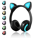 Wireless Bluetooth Katze Ohr Kopfhörer 7 Farben LED-Licht Blinkende Glowing On-Ear-Stereo-Headset kompatibel mit Smartphones Tablet PC