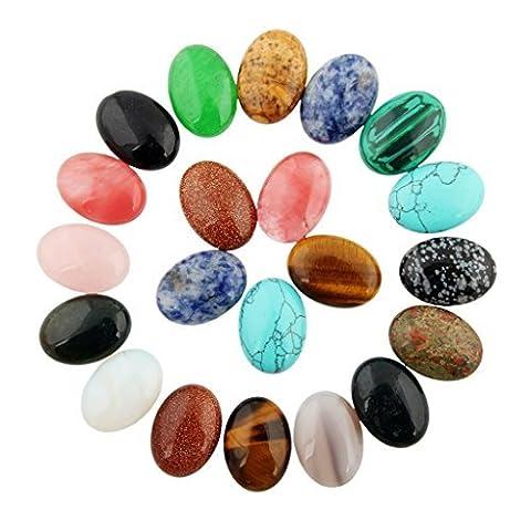 cmidy 25x 18mm Perles Mixte Cristal De Guérison perles goutte pierre de Cabochon ovale Cab (mixte Randow), Multicolore, 18mmX25mm(0.70x0.98inch)