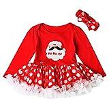 OVERDOSE Kleinkind Neugeborenes Baby Mädchen Party Prinzessin My first Christmas Weihnachtsmann Tutu Kleid + Stirnband Weihnachten Outfits Set(12-18 Monate,A-Rot)
