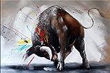 Kunst & Ambiente Abstrakter Stier - Stierbild II - Stiergemälde - Martin Klein - Bulle - Acryl auf Leinwand - Modern Art Gemälde - Stier auf Leinwand