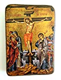 IconsGr Greek Orthodox Christian Icon of the Crucifixion, Made of Wood, Handmade / a0