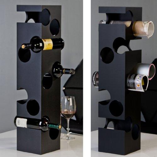 Exklusives und großes Weinregal CORNER schwarz aus MDF Holz glänzend 76x16x16 cm
