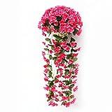 Fiori artificiali su vaso con pianta rampicante, orchidea viola di seta, decorazioni per matrimonio, casa 2PCS
