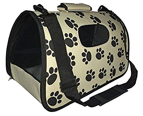 Pet Life Airline Approved Zippered Folding Cage Carrier, Paw Print Design, Large (Paw Pet Carrier)