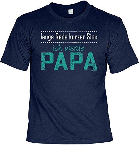 T-Shirt zum Geburtstag, Vatertag - Lange Rede kurzer Sinn ich werde Papa - Funshirt, Farbe: navy-blau