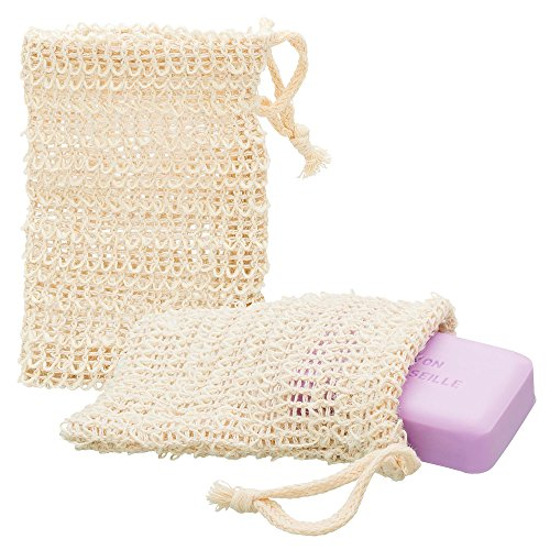 ECENCE 2x sisal soap bag natural soap net soap pouch soap purse soap sponge soap sachet 14cm x 9cm 23020202