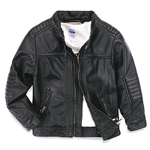ljyh Kinder-Motorradjacke Leder T3–12 Gr. 4-5Jahre, schwarz