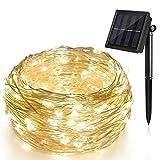 Solar Lichterkette, LED Kupfer Lichterkette, ALED LIGHT 200 LED 20M Lichterkette Wasserfest String Beleuchtung Ambiente für Außen Landschaft, Terrasse, Garten, Schlafzimmer, Weihnachtsfest (Warmweiß)