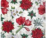Natale Fiori Tovagliolo, 33x33cm, Decoupage Classico, Tovaglioli, Carta, Hobby, Colori