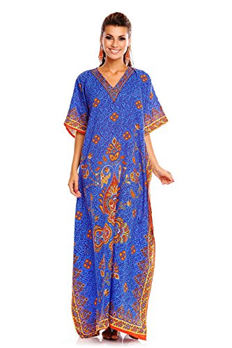 NEU Damen überdimensional Maxi Kimono Kaftan Tunika Kaftan Damen Top freie Größe - blau 20808, 38-46