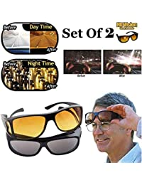 Alquila HD Vision Day and Night Riding Trendmi Nightdrive Easy Wrap Around Anti-Glare Polarized Lens Unisex Sunglass for All Bikes Car Drivers (Yellow-Black) -Combo Pack Set of 2