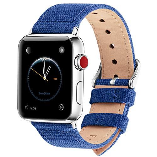 Fullmosa Kompatibel Apple Watch Armband 42mm 44mm in 8 Farben, Armband Stoff Leinen Style für iWatch Armband Series 4 (44mm) Series 3 (42mm) Series 2 Series 1, Saphirblau 42mm/44mm -