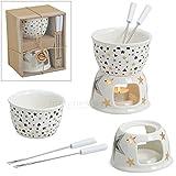 matches21 Schokofondue Set für 2 Personen Schokoladenfondue / Teelicht 12x14 cm Keramik Herz / Sterne im Geschenkkarton