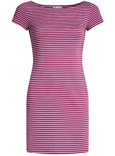 oodji Ultra Damen Enges Jersey-Kleid Rosa (4712S)