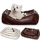 Smoothy Hundekorb aus Leder; Hunde-Körbchen; Hundebett für Luxus Vierbeiner; Braun Größe S
