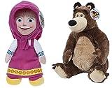 Masha e Orso (Masha and the Bear) - Pack 2 peluches Masha (seduta 25cm/in piedi 36cm) e Orso (seduto 30cm) - Qualità super soft