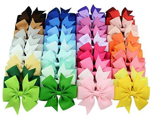 Yimmi 40 Stück / Packung Haar beugt Band-Bogen-Haar-Klipp-reine Farbe Hairpin Haar-Zusätze für Baby-Kind-Teens