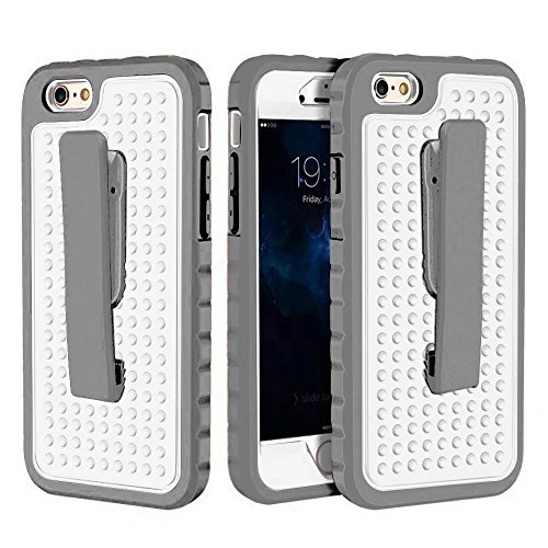 iPhone 6 Hülle,iPhone 6S Hülle,Lantier 3 in 1 Combo Einzigartige Anti-Rutsch Textur mit Gürtel Clip Shockproof Rugged Rüstung Schutzhülle für iPhone 6 /6S 4.7 inch Grau+Mint Grün Belt Clip Series Grey+White